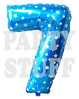 Фольгированная цифра 7 звездочка, голубая 70 см