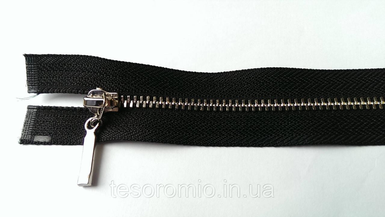 Молния металлическая разъемная черная полировка Т-3, 90 см 2 бегунка серебро