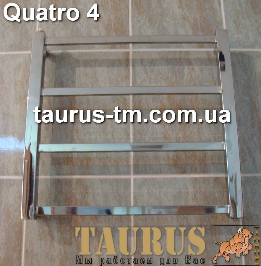 Маленький водяной, элеткро или гибридный полотенцесушитель для ванной комнаты Quatro 4/ 450х400.