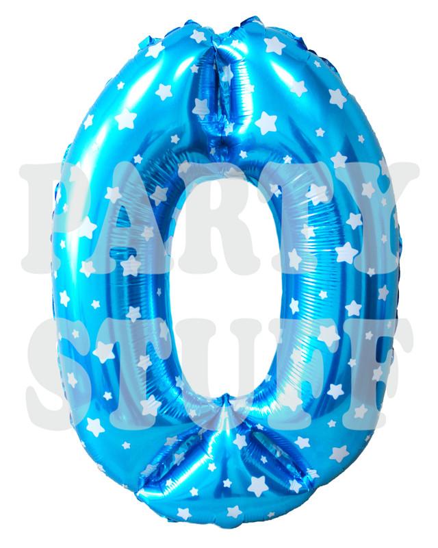 фольгированный голубой шар цифра 0