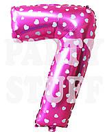 Фольгированная цифра 7 Розовая с сердечками, 70 см