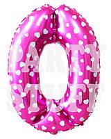 Фольгированная цифра 0 Розовая с сердечками, 70 см