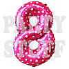 Фольгированные цифры 8 розовые Сердца, 70 см