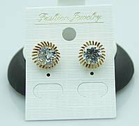 Круглые серьги -гвоздики под золото. Качественные украшения оптом. 2232