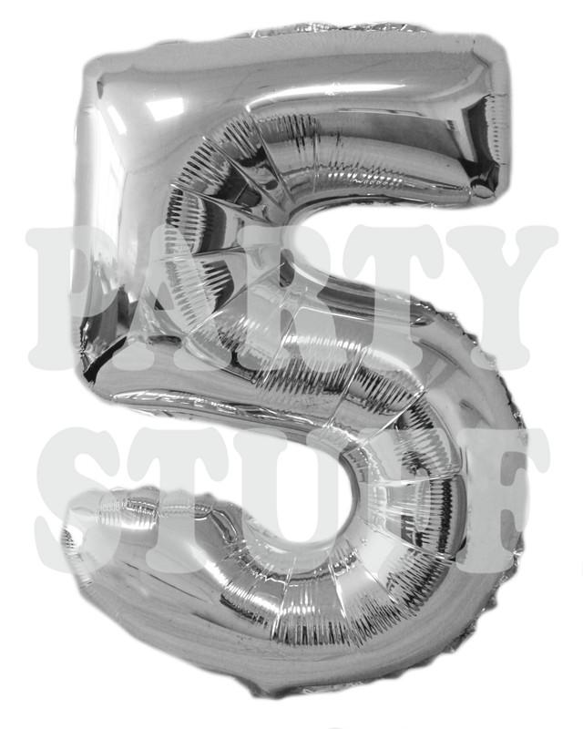 фольгированный шар цифра 5 серебро