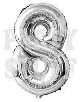 Фольгированная цифра 8 Серебро, 80 см
