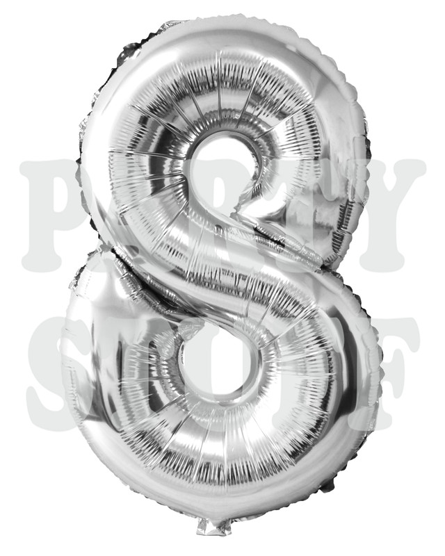 шар фольгированный цифра 8 серебро