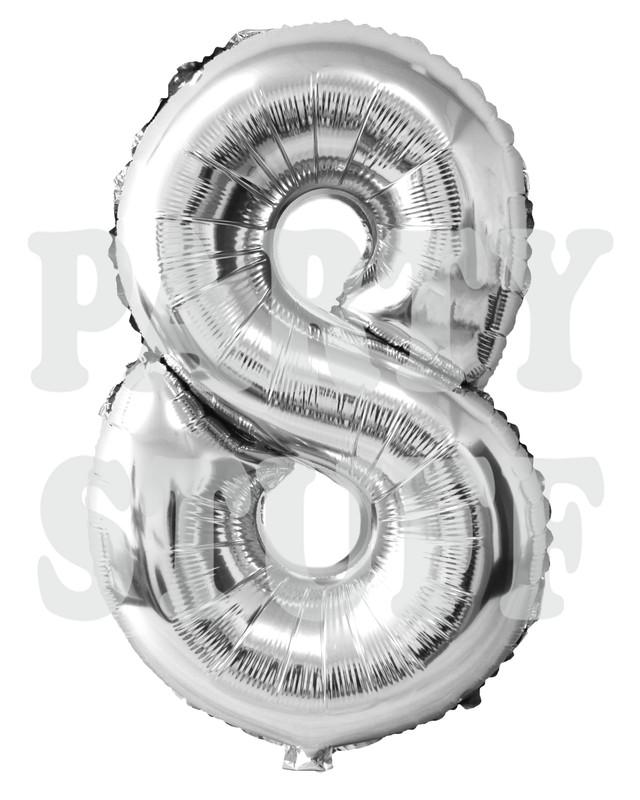 фольгированная цифра 8 серебро
