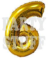 Фольгированная цифра 6 Золото, 80 см