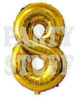 Фольгированный шар цифра 8 Золото, 80 см