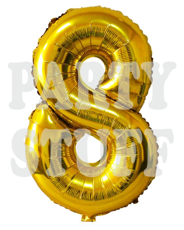 золотой фольгированный шар 8