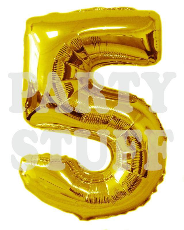 золотой фольгированный шар цифра 5