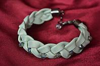 Кожаный плетеный браслет  Мятный вкус