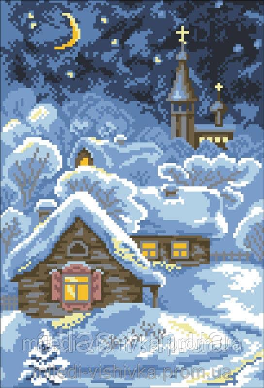 Схема для вышивки зимняя ночь