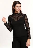 Белла черная блузка длинный рукав