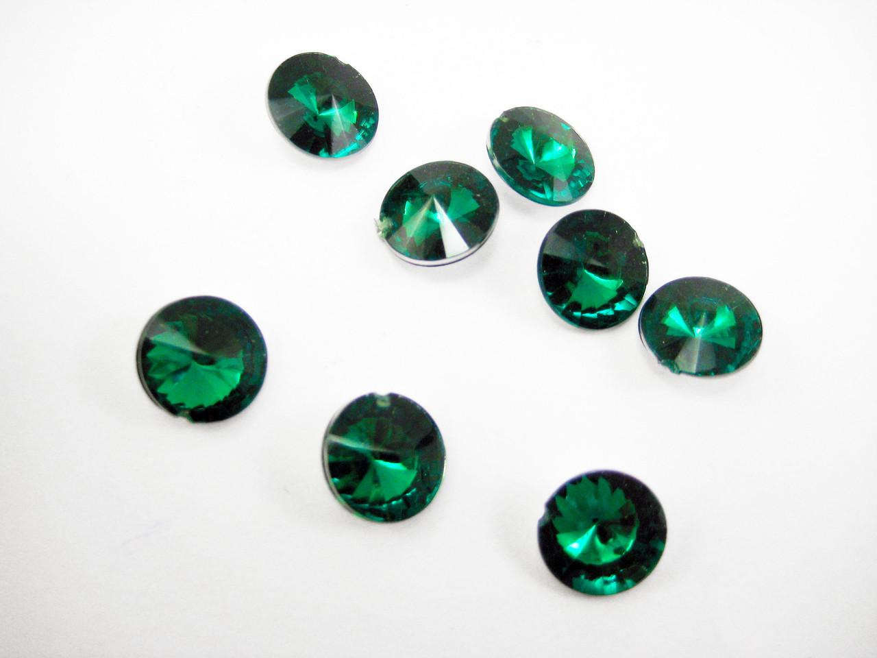 Стразы круглые зеленые 10мм