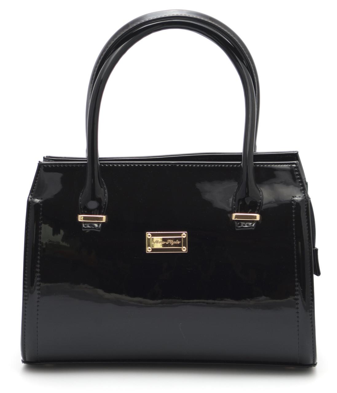 Черная лаковая женская сумка Zgarda Украина art. 05-15