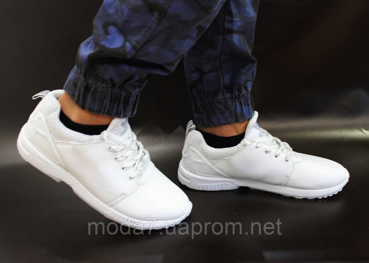 Мужские кроссовки Adidas Flux белые реплика 43р