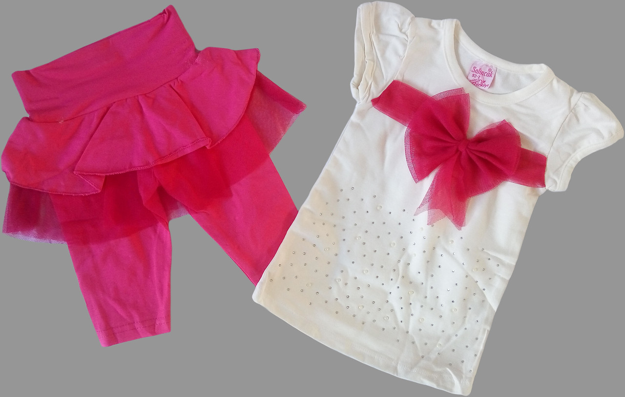 Летний костюм для девочек от 2 до 5 лет, малиновый