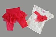 Летний костюм для девочек от 2 до 5 лет, красный