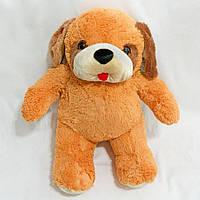 Мягкая игрушка Собака Тишка средний коричневый