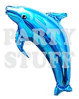 Воздушный фольгированный шар Дельфин синий, 100 см