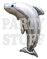Фольгированный шар фигурный  Дельфин серый, 100 см