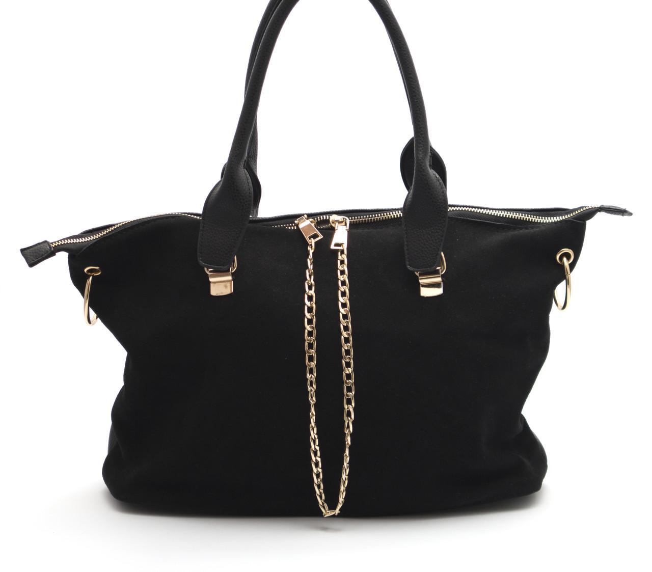 Черная женская замшевая сумка с декоративными цепями Б/Н art. 6117-1