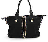 Черная женская замшевая сумка с декоративными цепями Б/Н art. 6117-1, фото 1