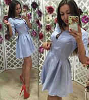Платье-рубашка поло льняное в узкую полоску  НН! 1021