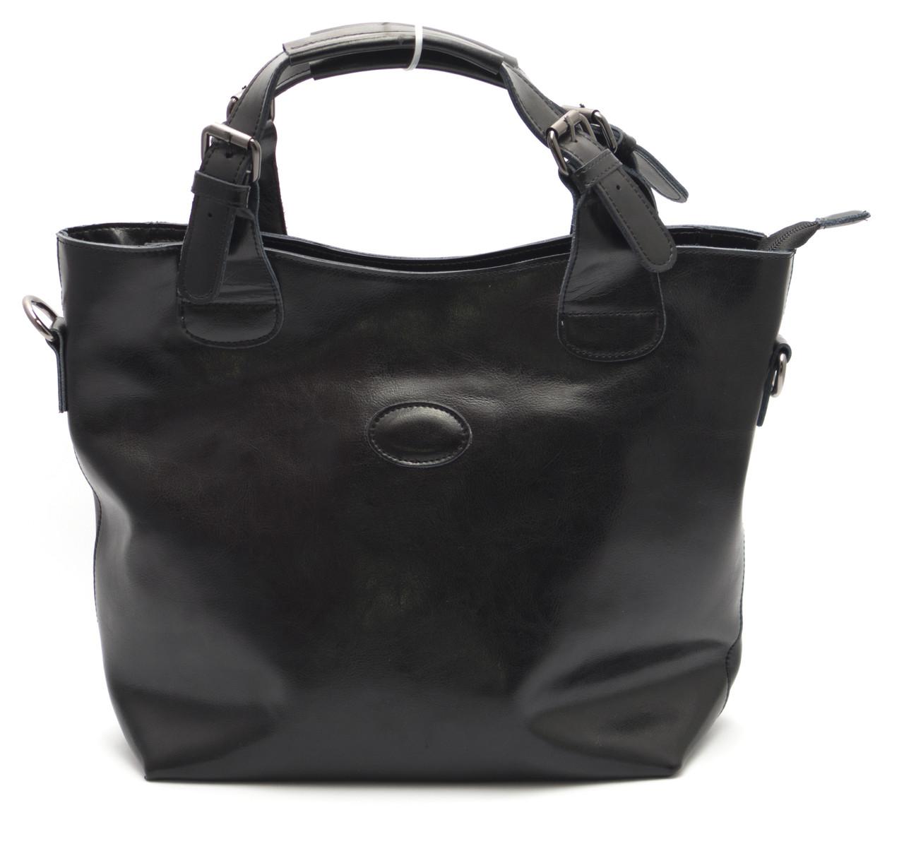 Стильная кожаная черная женская сумка SOLANA art. 50033