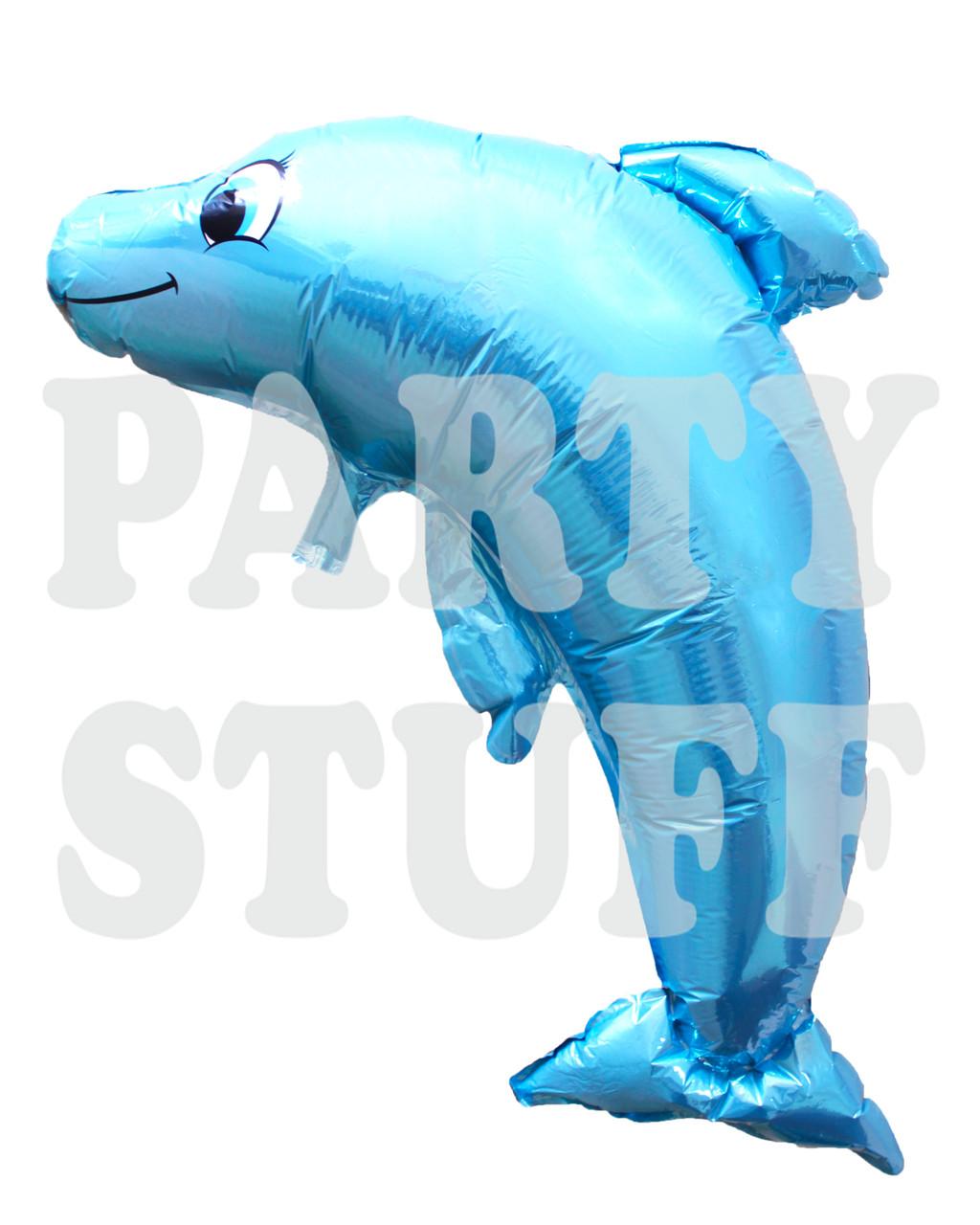 Шар фольгированный Дельфин голубой, 100*63 см