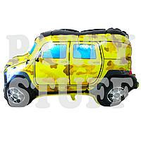 Фольгированный фигурный шар Машинка желтый, 74см