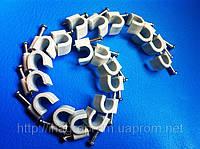 Крепеж (скоба) кабельный круглый  d 6 mm белый  с каленым гвоздем