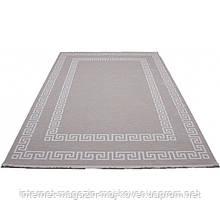 Акриловий килим бежевий з білим рельєфним орнаментом по периметру