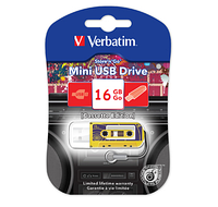 Флешка VERBATIM USB Drive 16Gb MINI CASSETTE EDITION, желтая