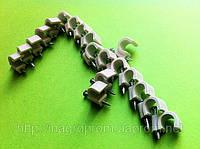 Крепеж (скоба) кабельный круглый  d 7 mm белый  с каленым гвоздем