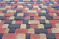 Тротуарная плитка Старый город цветная (красный, персик, черный, коричневый) 4см