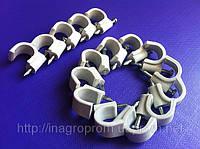 Крепеж (скоба) кабельный круглый  d 10 mm белый  с каленым гвоздем