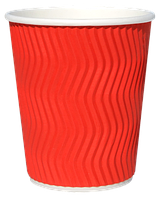 Бумажный стаканчик с гофро стенками RED 110 мл