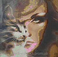 """Схема для вышивки бисером """"Женщина-кошка"""""""
