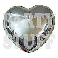 Воздушный фольгированный шар Сердце серебро, 44 см