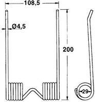 Пружинный палец пресс-подборщика IHC, Mc Cormick B46, B47 (200х76мм)