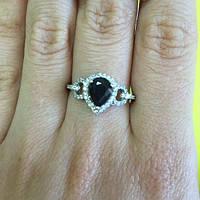 Кольцо серебряное с сапфиром и фианитами