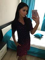 Платье Малиновый горошек с капюшоном низ с асимметрией шифон 1005 МБ
