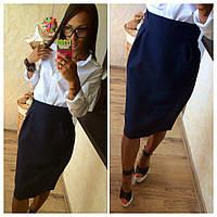 Элегантная юбка карандаш с высокой талией цвет -  дипломат