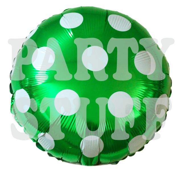 шарик фольгированный полька зеленый