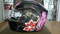 Шлем трансформер FGN черно-розовый с цветком женский