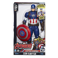 Интерактивная игрушка Марвел Капитан Америка + Щит 30см - Captain America Titans, Hasbro, фото 1