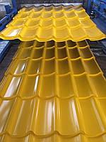 Металлочерепица Монтеррей желтая,желтая крыша,металлочерепица желтого цвета